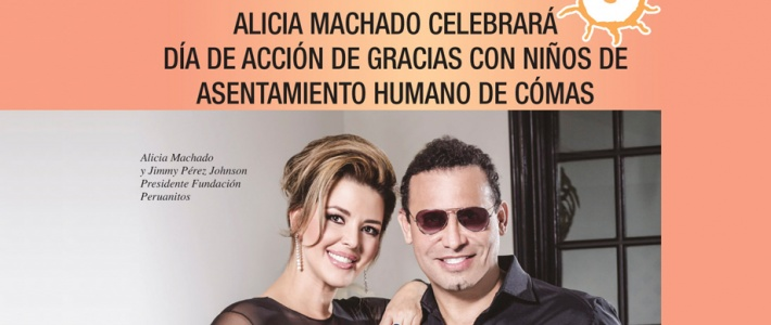 Alicia Machado celebrates Thanksgiving with children of Comas Human Settlement