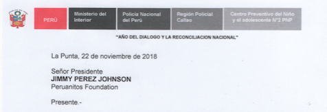 CARTA DE AGRADECIMIENTO DEL CENTRO PREVENTIVO DEL NIÑO Y DEL ADOLESCENTE N° 2 – LA PUNTA